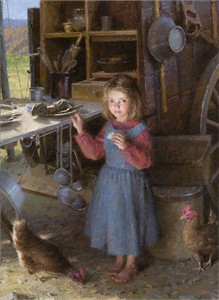 "Morgan Weistling Hand Signed and Numbered Limited Edition Canvas Giclee:""The Chef´s Daughter - Chuck Wagon 1892"""