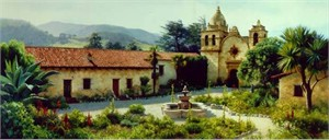 """June Carey Limited Edition Print: """"The Mission Courtyard"""""""