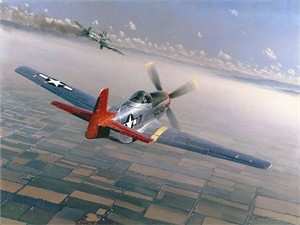 "William S. Phillips Hand Signed and Numbered Limited Edition Canvas Giclee :""Two Down, One to Go (Tuskegee Airman)"""