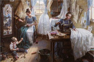 "Morgan Weistling Handsigned and Numbered Limited Edition Giclee on Canvas:""Dressmaker's Shop, 1886"""