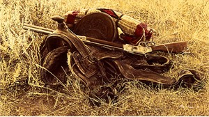 "James Bama Handsigned and Numbered Limited Edition Canvas Giclee:""1880's Still Life of Saddle and Rifle"""