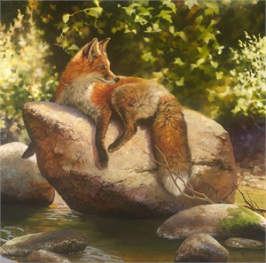 "Bonnie Marris Hand Signed and Numbered Limited Edition Canvas Giclee:""His Favorite Spot"""