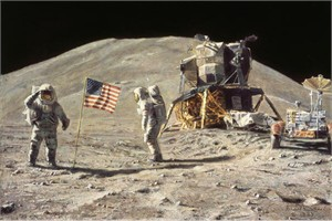 "Astronaut Artist Alan Bean Hand Signed and Numbered Limited Edition Giclee Print on Paper:""Ceremony on the Plain at Hadley"""
