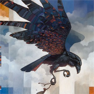 """Craig Kosak Hand Signed and Numbered Limited Edition Canvas Giclee:""""First Land (Raven)"""""""