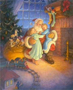 "Scott Gustafson Hand Signed Open  Edition Gallery Wrap Canvas:""Santa's Reward"""