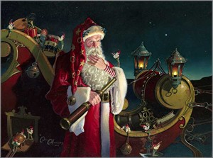 """Dean Morrissey Hand Signed and Numbered Limited Edition Canvas Giclee:""""Santa: Packed and Ready"""""""