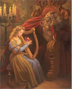 "Scott Gustafson Handsigned and Numbered Limited Edition Canvas Giclee:""Beauty and the Beast"""