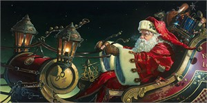 """Dean Morrissey Handsigned and Numbered Limited Canvas Giclee:""""Father Christmas: The Sleigh Ride"""""""