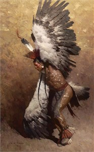 "Z. S. Liang Hand Signed and Numbered Limited Edition Canvas Giclee: ""Eagle Dancer Potawatomi"""