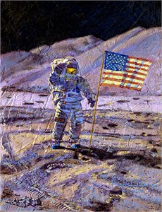 "Alan Bean Handsigned and Numbered Limited Edition Print and Canvas Giclee:""Is Anyone Out There?"""