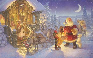 "Scott Gustafson Artist Hand Signed Open Edition Gallery Wrap Canvas Giclee:""Santa at the North Pole"""