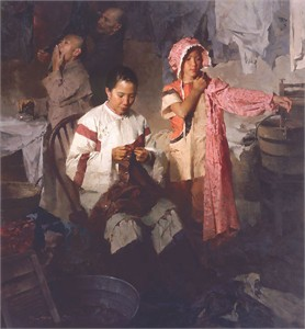 "Mian Situ Hand Signed and Numbered Limited Edition Giclée Canvas: ""The Calico Dress, Family Laundry, 1906 """