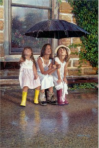 """Steve Hanks Artist Hand Signed and Numbered  Canvas Giclee:""""Summer Rain"""""""