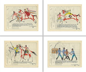 "Daniel Long Soldier Limited Edition Fine Art Giclée Diptych Print Suite: ""The Story of Sitting Bull (Set of 4)"""