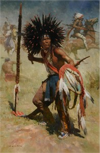 """Z. S. Liang Hand Signed and Numbered Limited Edition Canvas Giclee:""""Lakota Sash Bearer, 1848"""""""