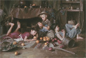"""Morgan Weistling Hand Signed and Numbered Canvas Giclee Edition:""""Apples and Oranges"""""""