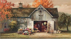 "Paul Landry Handsigned and Numbered Limited Edition Canvas Giclee:""Autumn Barn"""