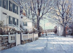 "Paul Laundry Hand Signed and Numbered Limited Edition Canvas Giclee:""Southport in Winter"""