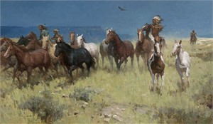 "Z.S. Liang Handsigned and Numbered MasterWork™ Canvas Edition Giclee:""Plunder of Many Horses"""