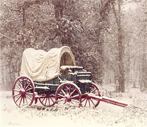 "James Bama  Hand Signed and Numbered Limited Edition Canvas Giclee:""Chuck Wagon in the Snow"""