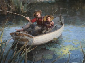 "Morgan Weistling Hand Signed and Numbered Limited Edition Canvas Giclee:""The Fishing Hole"""