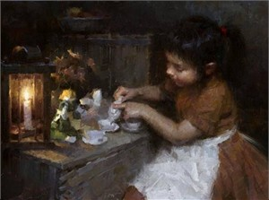 "Morgan Weistling Hand Signed and Numbered Limited Edition Canvas Giclee:""Sienna's Tea"""