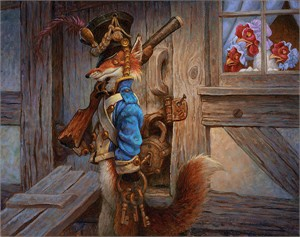 "Scott Gustafson Handsigned and Numbered Limited Edition Canvas Giclee:""The Fox Guarding the Henhouse"""