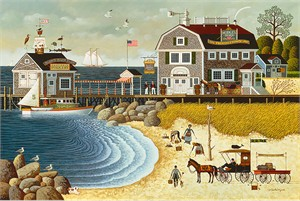"Charles Wysocki Anniversary Fine Art Open Edition Giclee Canvas:""Clammers at Hodge's Horn"""