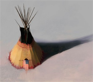"""R. Tom Gilleon  Hand Signed and Numbered Limited Edition Canvas Giclee:""""Teebow Tipi"""""""