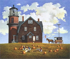 "Charles Wysocki Anniversary Fine Art Open Edition Giclée Canvas:""Gay Head Light"""