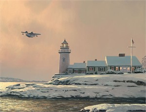 "William Phillips Handsigned and Numbered Limited Edition Canvas Giclee:""Afternoon Departure at Stoney Point Light"""