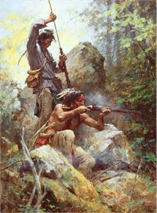 "Howard Terpning Hand Signed and Numbered Limited Edition Giclee on Paper and Canvas:""White Man Fire Sticks"""