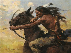 "Z.S. Liang Hand Signed and Numbered Limited Edition Gallery Wrap Canvas Giclee:""Hot Chase"""