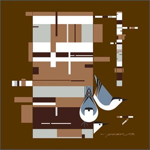 """Charley Harper Oversized Gallery Wraped Canvas Giclee Mural:""""Birch, Bark and Birds """""""