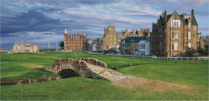 "Linda Hartough Hand Signed and Numbered Limited Edition Canvas Giclee ""18th Hole, Swilcan Bridge"""