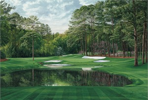"""Linda Hartough Hand Signed and Numbered: """"Artist Proof - 16th Hole, 'Redbud', Augusta - Canvas Gicl�e"""""""