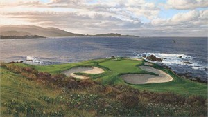 "Linda Hartough Hand Signed and Numbered: ""Artist Proof - 7th Hole Pebble Beach - Textured Canvas 21 x 36"""