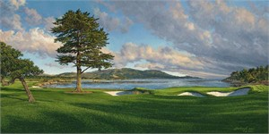 "Linda Hartough Hand Signed and Numbered: ""Artist Proof - 18th Hole, Pebble Beach - Paper - 2007"""