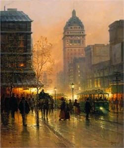 "G. Harvey Handsigned and Numbered Limited Edition Serigraph on Paper: ""The Lights of Broadway"""