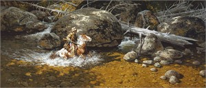 "Frank McCarthy Limited Edition Fine Art SmallWorks™ Giclée Canvas: ""Covering His Trail"""