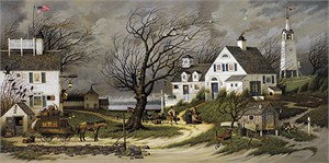"Charles Wysocki Handsigned and Numbered Limited Edition Canvas:""Checking in on Olde Martha's Vineyard-Canvas"""