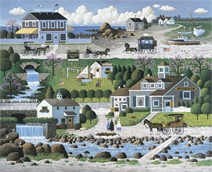 "Charles Wysocki Handsigned and Numbered Limited Edition Canvas:""Crickethawk Harbor - Giclee on Canvas"""