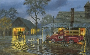 "Dave Barnhouse Handsigned and Numbered Limited Edition Canvas:""Shelter from the Storm"""
