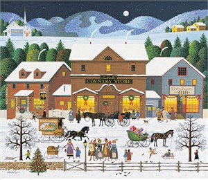"Charles Wysocki Handsigned and Numbered Limited Edition Canvas:""Christmas Eve- Canvas"""