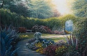 """Charles White Handsigned and Numbered Limited Edition Canvas:""""Down the Garden Path"""""""