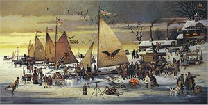 "Charles Wysocki Handsigned and Numbered Limited Edition Canvas:""Ice Riders of Chesapeake Bay - Canvas"""