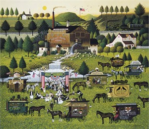 "Charles Wysocki Handsigned and Numbered Limited Edition Canvas:""Rally at Dandelion Mill - Canvas"""