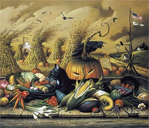"""Charles Wysocki Handsigned and Numbered Limited Edition Giclee on Canvas:""""Monty Minding the Store - Canvas"""""""