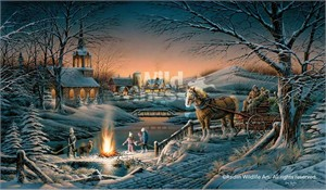 "Terry Redlin Hand Signed and Numbered Limted Master Canvas Edition Print: ""Sharing the Evening"""