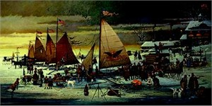 "Charles Wysocki Limited Edition Print: ""Ice Riders of the Cheseapeake"""
